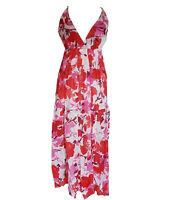 D331 SUMMER BEACH FLORAL cotton BLUE RED FULL LENGTH long MAXI DRESS S-XL