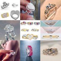 Fashion Women 925 Silver White Sapphire Heart Ring Delicate Wedding LOVE Jewelry