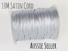 10m SILVER satin nylon cord 2mm teething DIY necklace grey rattail jewellery