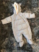 IMMACULATE - MARKS & SPENCERS GREY STAR SNOWSUIT - 3-6 MONTHS
