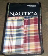 Nautica Blaine Quilted Plaid Patchwork Standard Pillow Sham New Quilt