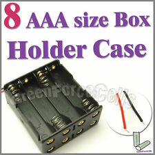 1 pc 8 AAA (2X4) Cells Battery (12V) Clip Storage Case Box Holder w/ Wire Lead