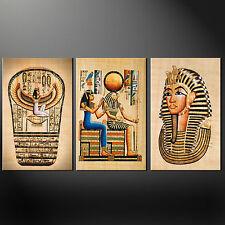ÄGYPTISCHE HISTORISCHE PHARAO 3 PLATTEN-SPLIT LEINEN WANDKUNST BILDER AUFDRÜCKE