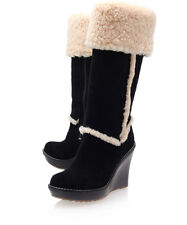 UGG® AUSTRALIA AUBRIE BLACK SHEEPSKIN KNEE HIGH BOOTS UK 7.5 EUR 40 RRP £265