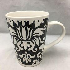 "Gothic Floral Coffee Mug Black White Ceramic Cup Geometric Harbor East 4 1/4"""