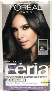 L'Oréal Paris Feria Hair Color, 20 Black Leather Natural Black