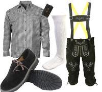 Herren Trachten Lederhose Trachtenset Bayerische Trachtenhose Hemd Schuhe S3