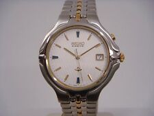 SEIKO DRESS DATE WHITE DIAL SAPPHIRE TWO-TONE ST.STEEL MEN'S WATCH SKH196 NEW