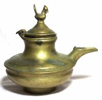 Indian Old Vintage Hand Carved Unique Brass Holy Water Pot W Bird Statue Br 348