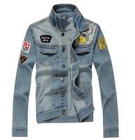 Men's Retro Denim Cotton Jean Jacket Coat Casual Outwear Blue Size Vintage