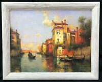 1950s French Italian Impressionist Oil Painting of Venice signed A.Bouvard