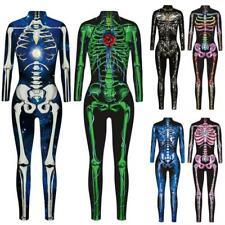 Women Skeleton 3D Print Halloween Cosplay Costume Fancy Playsuit Jumpsuit Romper