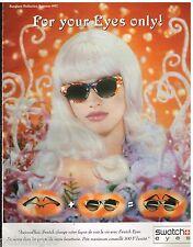 Publicité Advertising 1992 Collection de lunettes de soleil Swatch