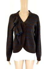 MARC JACOBS Wool Brown & Blue Striped Ruffle Detail Cardigan Sz M