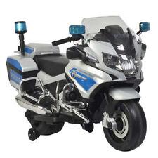 Moto elettrica per bambino 12V BMW Polizia grigia lampeggiante suoni 3-6km/h 7+
