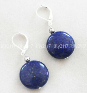 Natural 12/14mm India Blue Lapis Lazuli Coin Gemstone 925 Silver Dangle Earrings