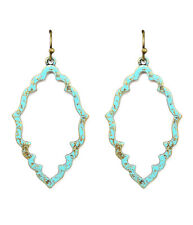 NEW BALI BOHEMIAN VINTAGE PAINT MINT AND GOLD METAL EARRINGS