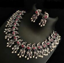 Indian Ethnic German Silver Red Stone Pearl Peacock Necklace Peacock Jhumki Set