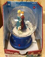 "DISNEY Frozen Elsa, Anna & Olaf Musical Snowglobe  Snow Globe 7"" Tall NEW"