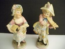 2 ANTIQUE DRESDEN FIGURINES ONE BOY AND ONE GIRL #1474 HANDPAINTED