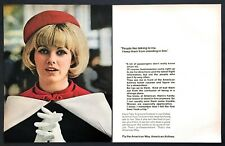 "1969 American Airlines Dallas Ground Hostess photo ""Talk to Her"" 2-page print ad"