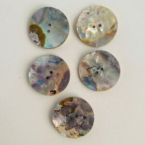 Champagne Shine Natural Abalone 2-hole Shell Iridescent Dress Buttons lot of 5