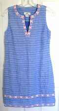 NWT Vineyard Vines Women's Linen Embroidered Tunic Dress Breaker Blue 0 lined