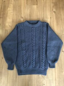 Fishermans Jumper Cable Knit Authentic Hand Made Navy Mens Medium Wool Pullover