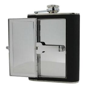 PU Leather Stainless Steel Flask 6-Ounce with Built-In Cigarette Case6 oz., Blac