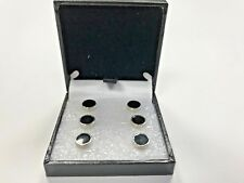 Simpson & Ruxton 6 Luxury Dress Shirt Studs Silver Black Tie Event Accessory