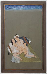 Antique Erotic Indo Persian Gouache Miniature Painting Kama Sutra Mughal
