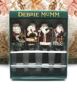 SET OF 4 DEBBIE MUMM CHRISTMAS SANTA CLAUS APPETIZER HOLIDAY SPREADERS KNIVES