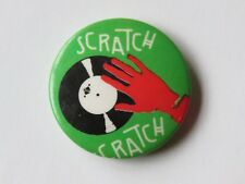 Pinback BUTTON ~ DJ Turntable Scratch ** See STORE for 100s More Buttons, Caps +
