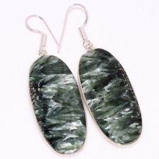 "2.4"" Gift For Her Gw Seraphinite 925 Sterling Silver Plated Earrings"