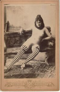 French nude naked on the bench original 1910s postcard real photo Cabinet