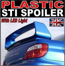 ABS PLASTIC Subaru Impreza WRX STI Version 7 8 9 Rear Boot Spoiler + LED light