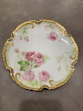 Vtg Limoges France Old Abbey Hand Painted Porcelain Plate Gold Pink Roses Emboss