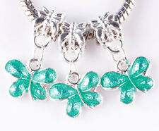 3pcs painted green butterfly big hole beads European charm pendant bracelet A785