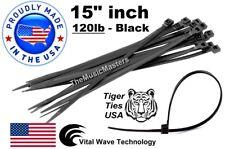 "100 Black 15"" inch Wire Cable Zip Ties Nylon Tie Wraps 120lb USA Made Tiger Ties"