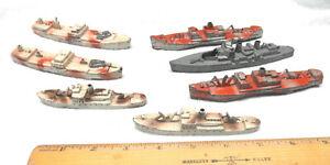 Vintage Tootsietoy Cast Metal Ships Battleship Freighter Ships