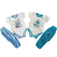 BNWT Baby Infant Boys Set Outfit Bodysuit and  Trousers Pants  100% Cotton