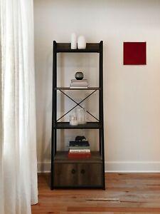 4-Tier Ladder Bookcase with Storage (Black)
