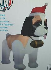 NEW Christmas 9.5 FOOT Gemmy St SAINT BERNARD DOG Airblown Inflatable Santa Hat
