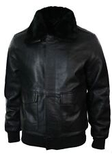 Mens Real Fur Collar Leather Bomber Pilot Flying Jacket Black Brown A2