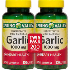 2 pack Spring Valley Odor-Controlled Garlic Herbal Supplement Softgels 200 Total