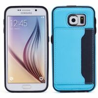 SAMSUNG GALAXY S6 - LEATHER CASE LUXURY WALLET COVER CREDIT CARD ID SLOT STAND