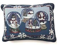 Christmas Snow Globe Pillow 16x11 Tapestry Vintage Throw Santa Snowmen Holiday