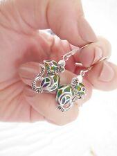 & ruby eyed novelty mouse earrings, 925 Silver pair of plique de jour enamel