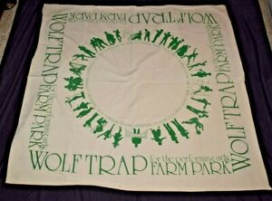 ALLIANCE Vintage Natural Unbleached Muslin WOLF TRAP Farm Park Picnic Blanket