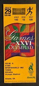 1996 Atlanta Summer Olympics Ticket Stub 7/29/96 Athletics Track & Field